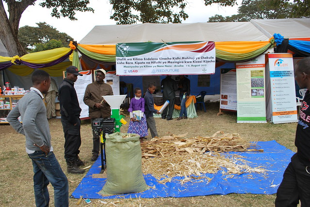 A motorized maize shelling machine demonstration at the Africa RISING exhibition stand during the nane nane agricultural exhibition 2015 (photo credit: IITA/Gloriana Ndibalema)
