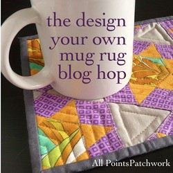 Design-Your-Own Mug Rug blog hop button for Diane Gilleland's book tour