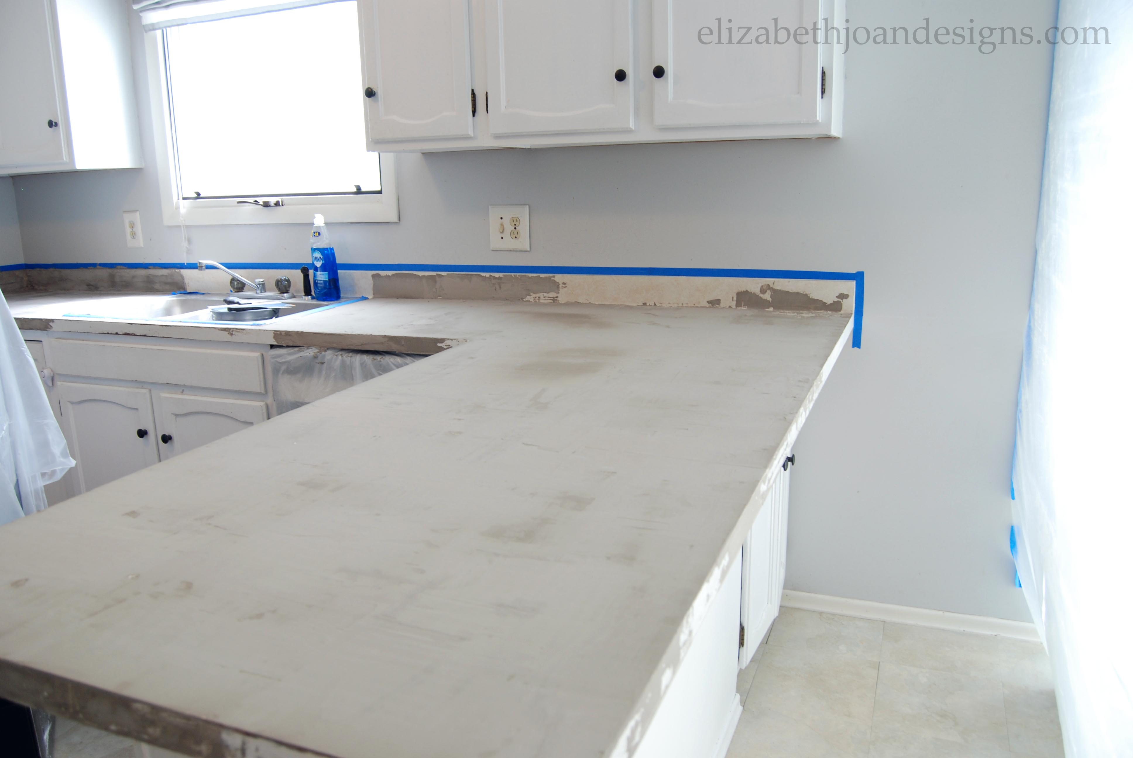 First Coat of Concrete Counter Top