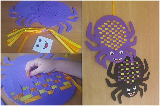 Spider Weaving Placemat Collage, Halloween crafts, Baker Ross, arts and crafts