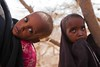 Kenya/ Somali refugees. Dahira, 11 years old, holds her severely malnourished baby brother Mahad, age 2, in Dagahaley refugee camp. The family arrived in the sprawling refugee camp in June after fleeing drought and war in Baidabo, Bay region, Somalia. The by ( Voice Nature. )