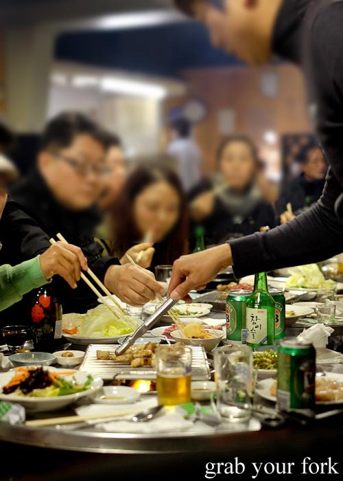 Korean barbecue at Jang Tur Charcoal BBQ Restaurant, Canterbury