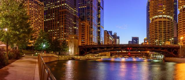 Riverwalk and bridges at night