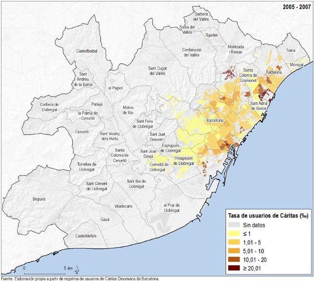 Taxa d'usuaris de Càritas segons àrea d'acció. Àrea metropolitana de Barcelona, 2005-2007