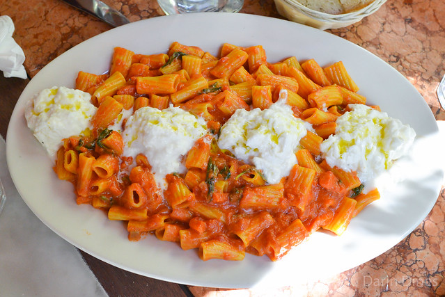 Rigatoni Pom'Amore rigatoni with a creamy tomato sauce topped with burrata
