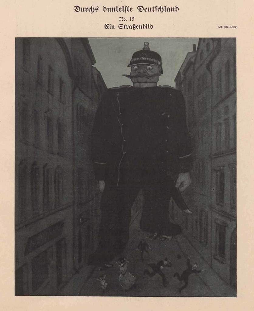 Thomas Theodor Heine - Through The Darkest Germany No. 19. A street scene, 1910