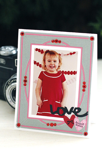 Rhinestones Add Flair to a Photo Card Using Dies by Papertrey Ink