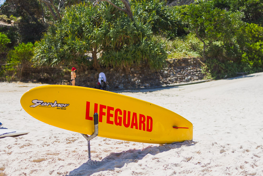 lifeguard surf board on the beach