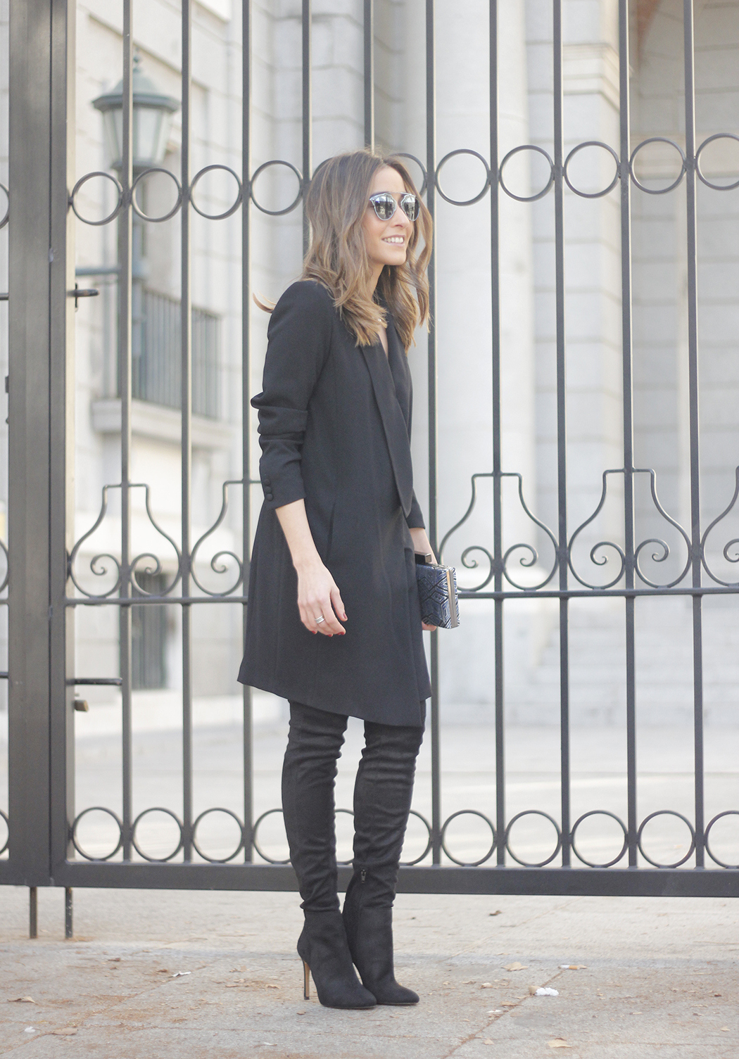 BLack Tuxedo dress black over the knee boots dior so real sunnies bulgary jewellery10