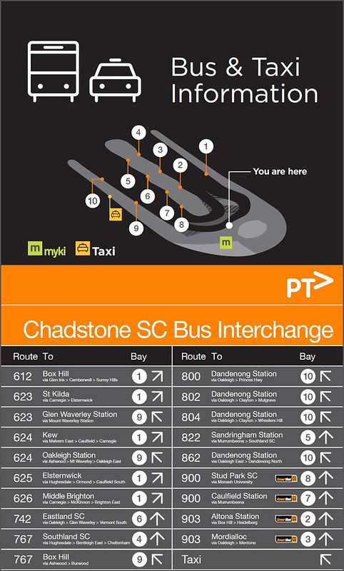 PTV map and signage from Chadstone bus interchange opened August 2015