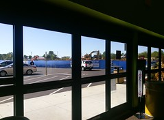 Looking out the front vestibule doors of the new store