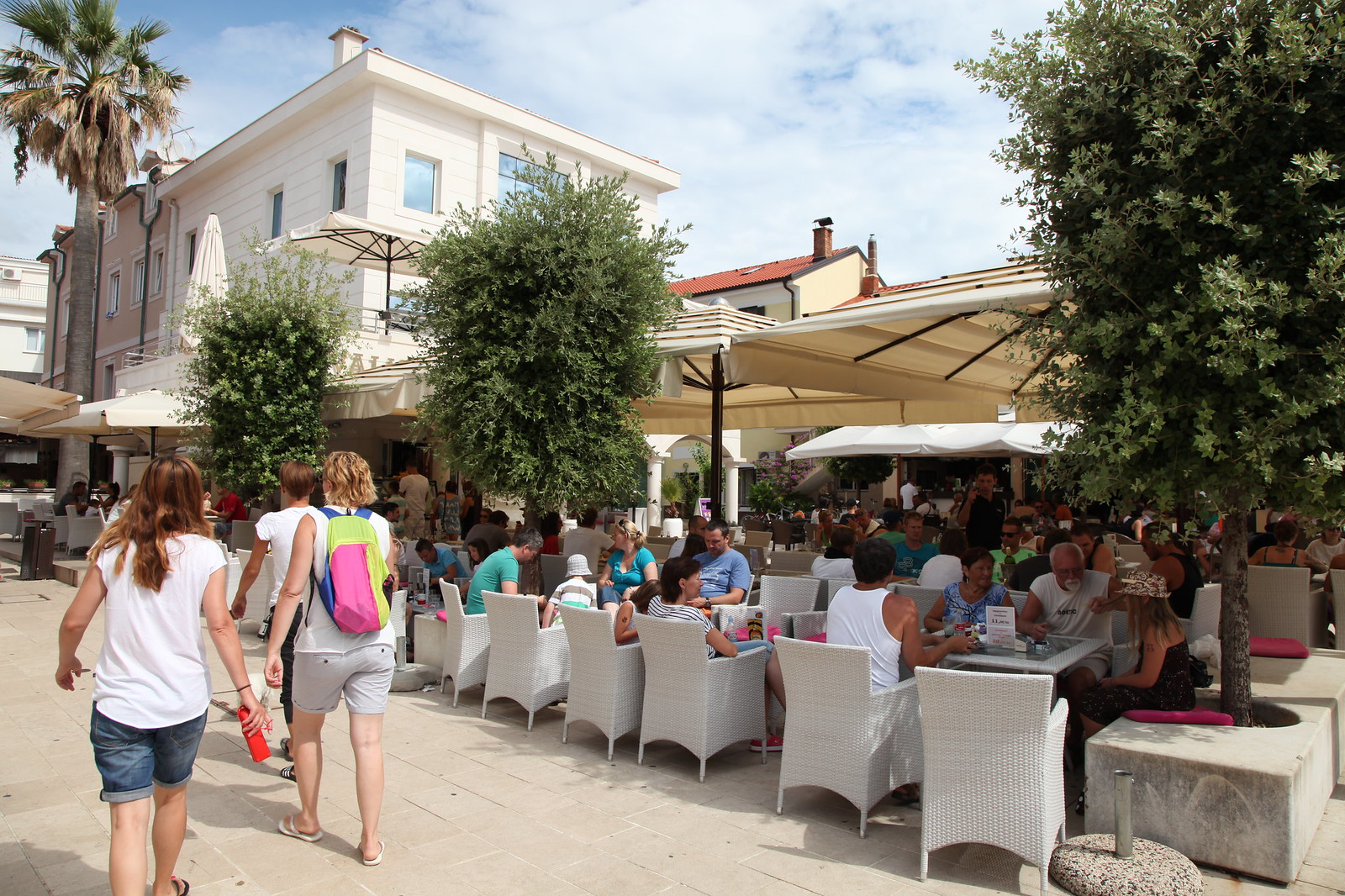 novalja city center pag island croatia town market plaza place terrace cafe tourists summer holiday vacation 2015 august