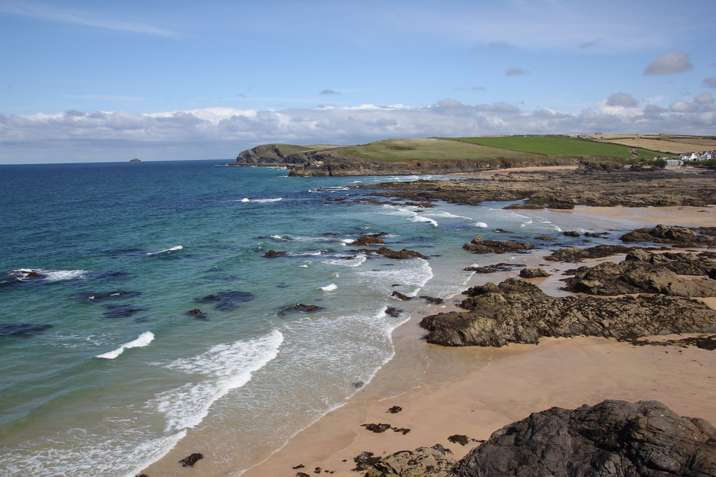harlyn bay, trevone bay, trevone round hole, wild swimming, body boarding, the view, berryfields farm