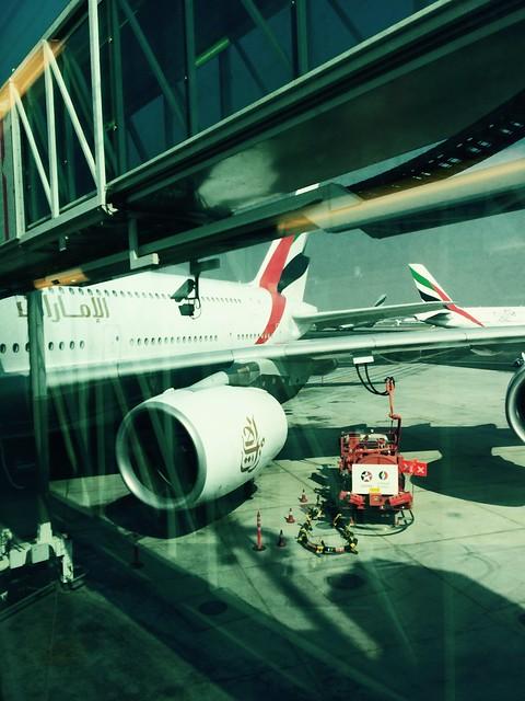 Leaving Dubai on a massive airplane