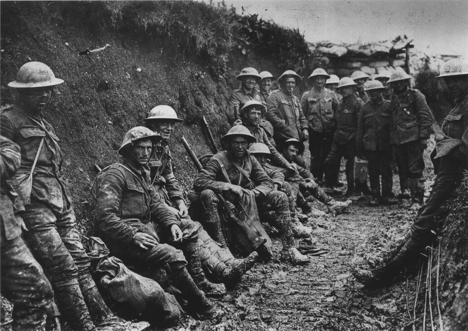 A ration party of the Royal Irish Rifles in a communication trench during the Battle of the Somme