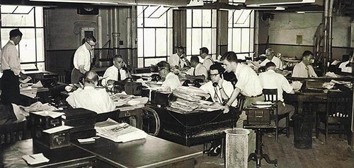 1950s newsroom of the Oakland Tribune