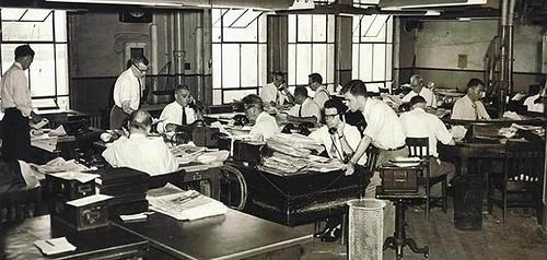 1950s newsroom of the Oakland Tribune