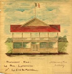 Dessin d'architecture représentant le chalet du parc La Fontaine. 1908-1909. VM44-4-3_7-16. Archives de la Ville de Montréal.