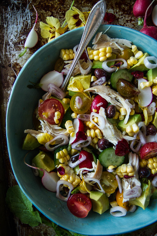 Chicken Corn and Cucumber Salad