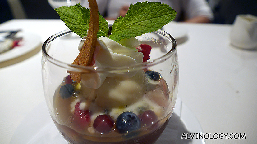 Enhanced Bergamot Earl Grey Jelly (S$15) - with Frozen Yoghurt, Passionfruit Coulis and Macerated Berries