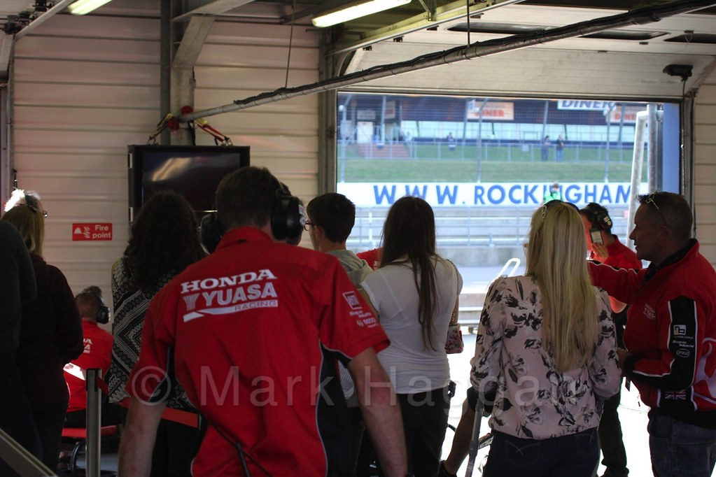 In the Honda garage at the BTCC at Rockingham 2015