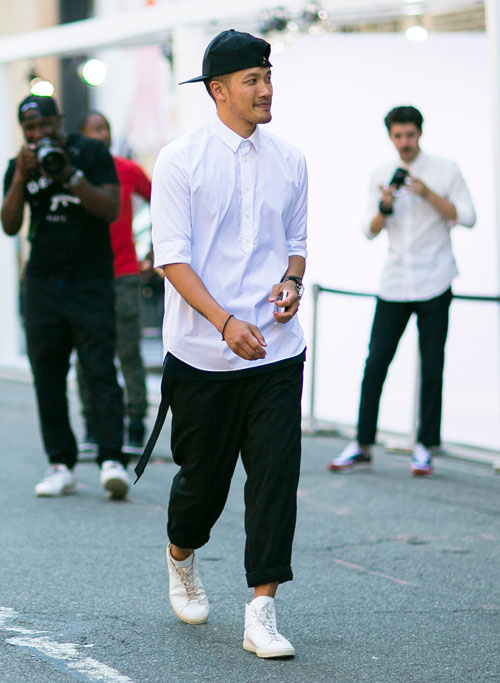 Men's New York Fashion Week street style.