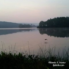 Good morning from Shawnee State Park outside of Shellsburg, Pennsylvania! This mornings walk took me to the edge of the lake where I flushed a waterfall right when snapping this picture. Is it nature wonderful? Happy Thursday, everyone! #quiltville #bonni
