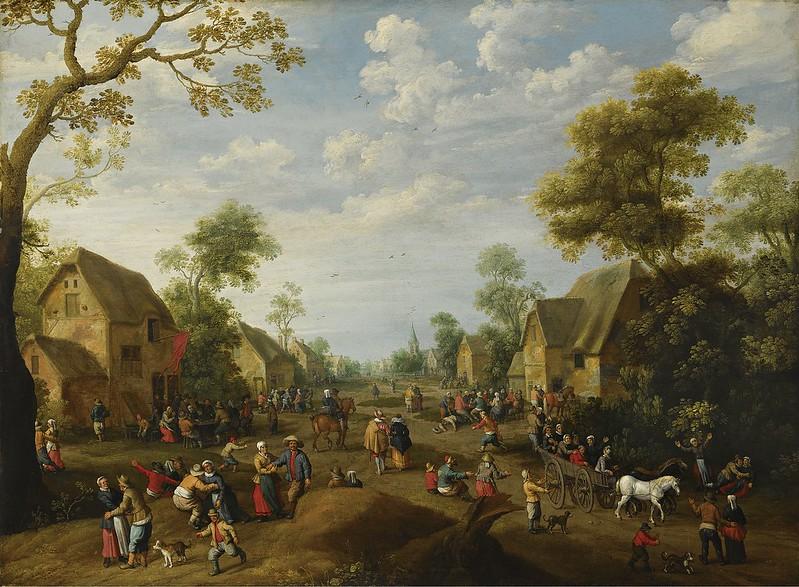 Joost Cornelisz Droochsloot - A village kermesse with numerous peasants feasting (1628)