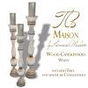 Tres Maison Wood Candlestick White