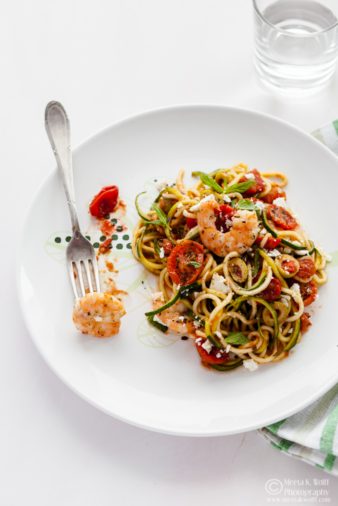 Zucchini Noodles Shrimp and Slow Roasted Tomato Sauce (0145) by Meeta K. Wolff