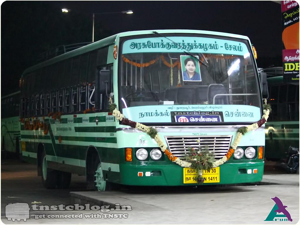 TN-30N-1411 of Namakkal 2 Depot Route Mohanur Chennai via Namakkal, Thuraiyur, Perambalur, Villupuram.
