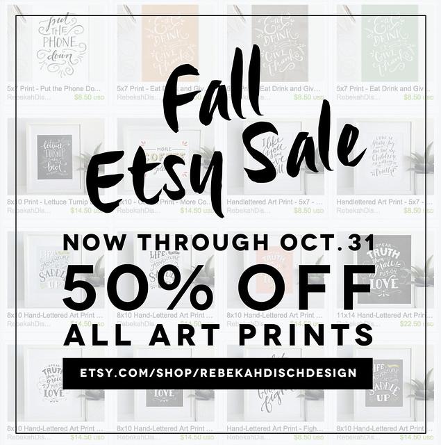 fall 2015 Etsy sale