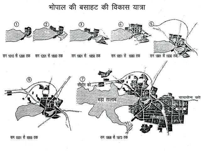 चित्र 8, भोपाल क बसाहट की सन् 1010 से 1973 तक की विकास यात्रा