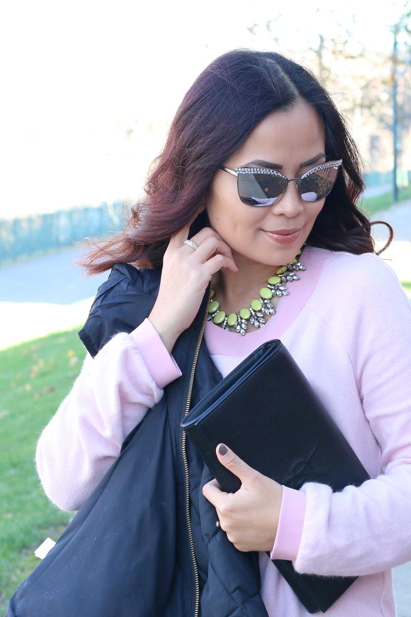 rhinestone sunglasses, pink dress, ysl clutch
