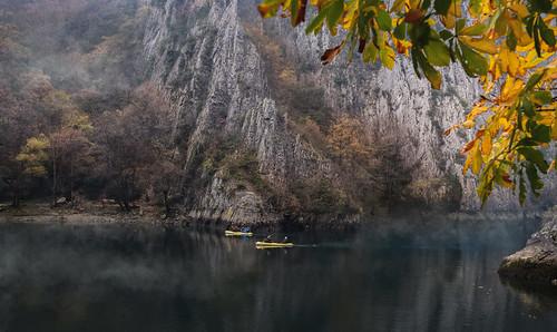 autumn mist lake weather misty fog landscape foggy autumncolors foliage macedonia kayaking matka lakescape matkalake lakematka