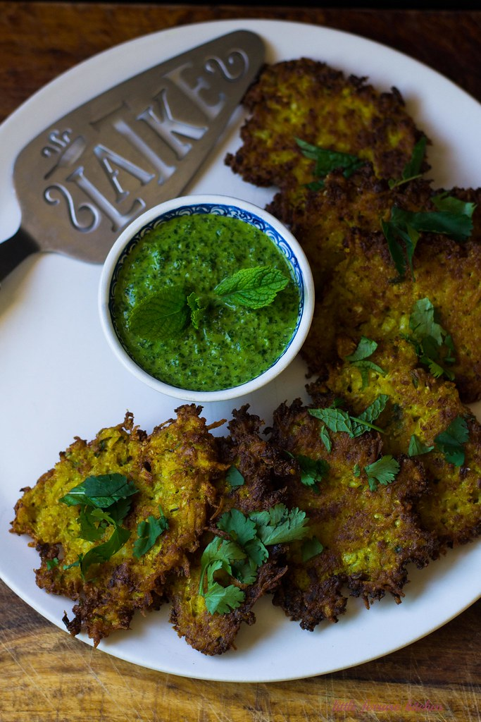 Indian Spiced Cauliflower Latkes with Cilantro Chutney