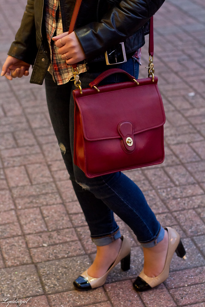 Plaid shirt, leather jacket, distressed denim, red bag-10.jpg
