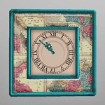 Scripted Vintage Clock Green 3D Model
