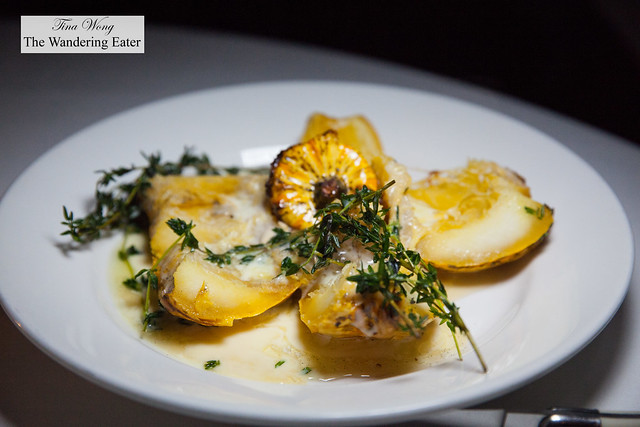Whole Roasted Squash, vanilla smoked honey crème fraîche, thyme
