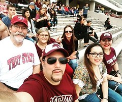 #TexasState game with the family. #housedivided @austinpubcrawl is #troystatealumni, Mariza is a #bobcat