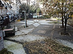 Geometrical paving at Parco Ventaglieri in Naples
