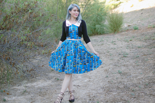 Junebugs Dress in Birdcage Print in Blue