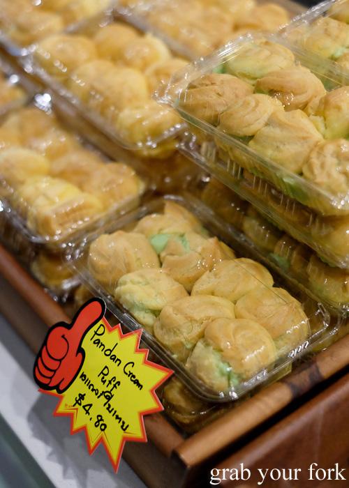Pandan cream puffs by Ma Toom Bakery at Kin Senn Thai street food restaurant, Sydney