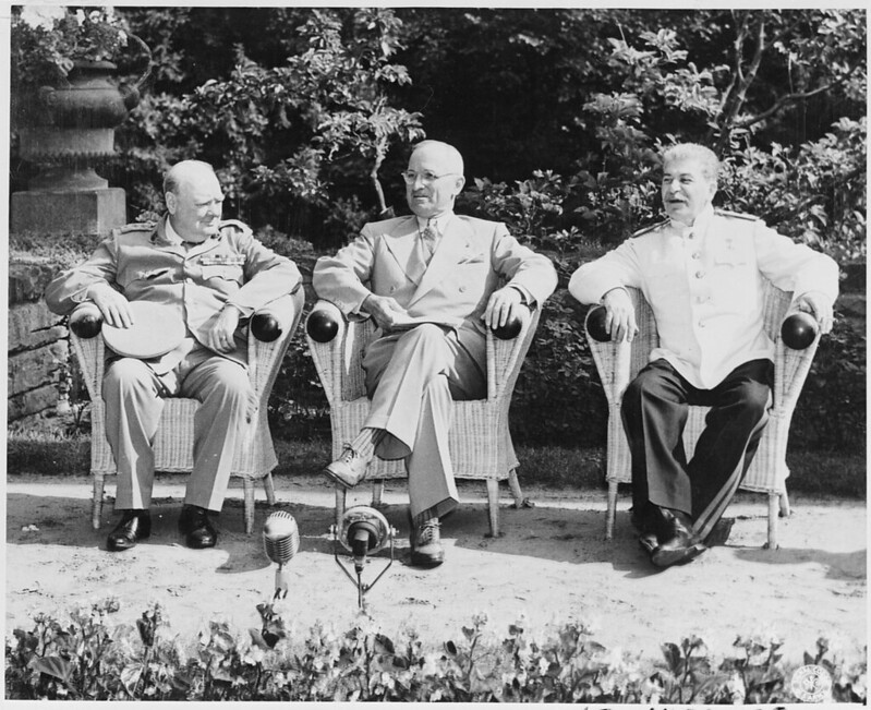 Winston Churchill, Harry S. Truman, and Joseph Stalin at the Potsdam Conference