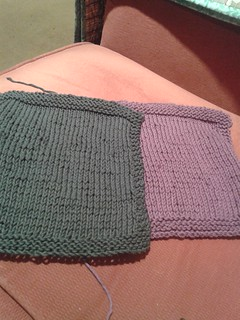 Two completed wash cloths