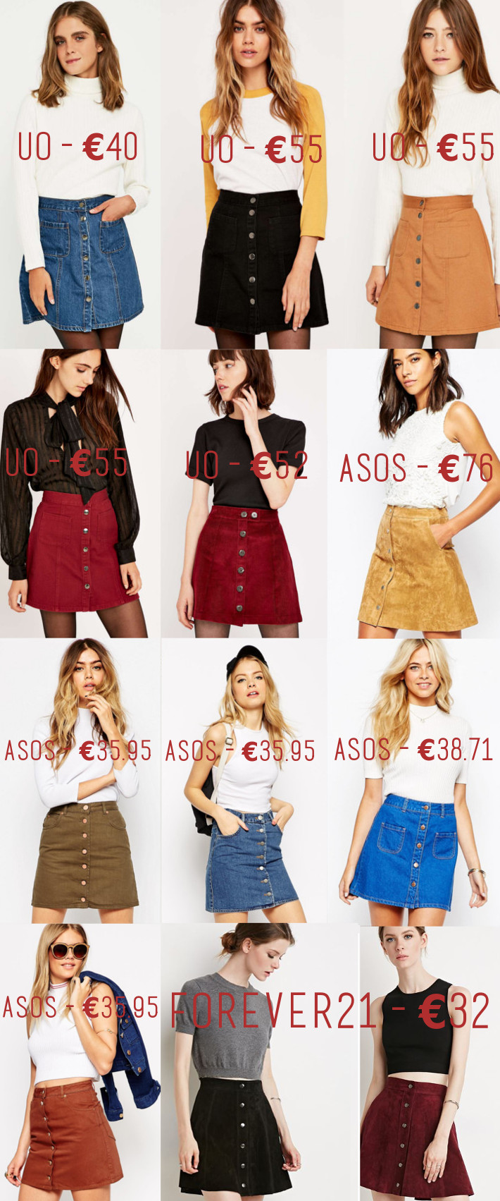 wishlist: a-line button through skirts