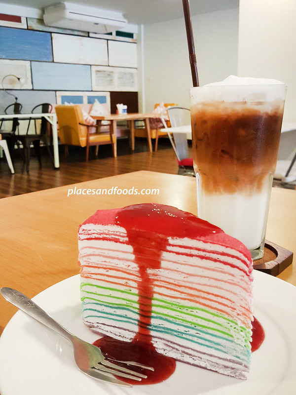 eat me cafe bangkok rainbow crepe and ice coffee