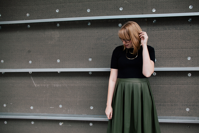 olive leather skirt crop top8