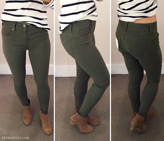 LOFT petite olive sateen skinny legging jeans