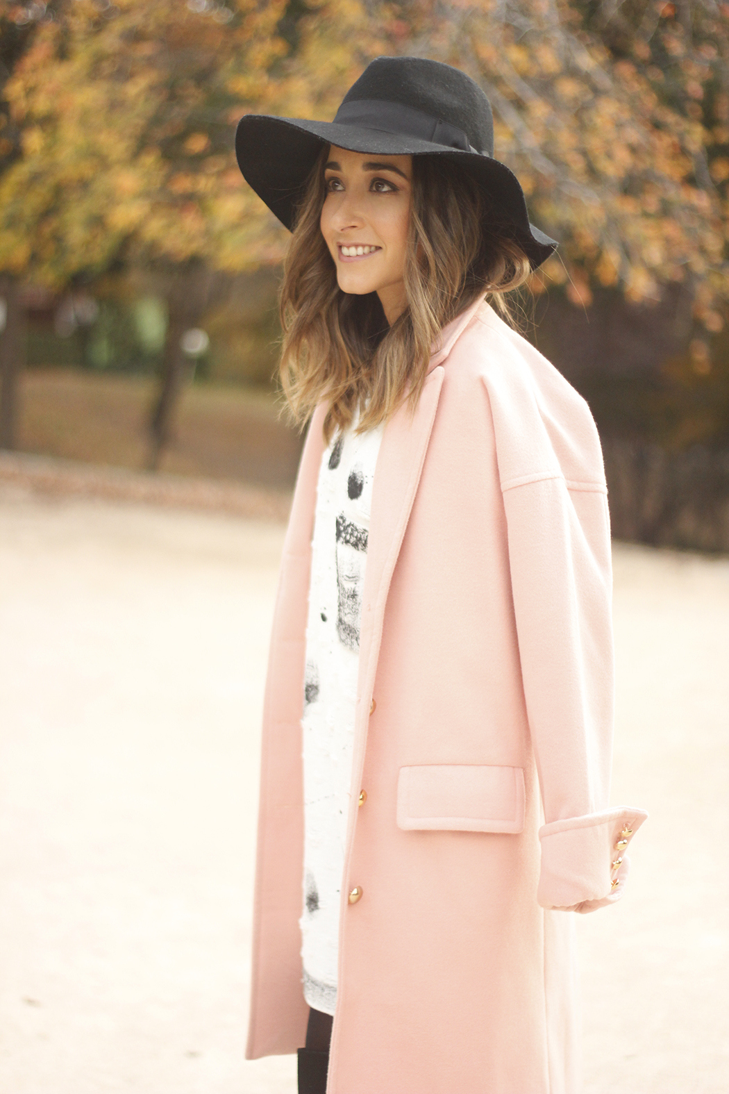 Black and White Dress Pink Coat Black Hat outfit style over the knees boots14